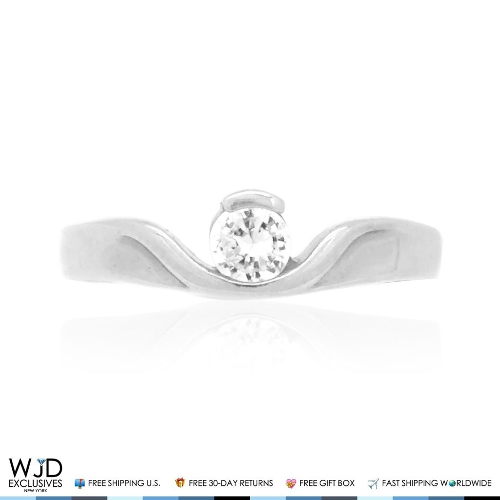 14K Solid White Gold Round Cut Simulated Diamond Toe Ring Size 3 Throughout Most Current White Gold Diamond Toe Rings (Gallery 14 of 15)