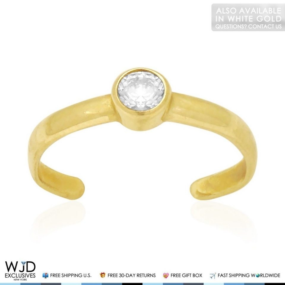 14K Solid Yellow Gold Bezel Set Round Simulated White Diamond Toe Pertaining To 2018 Gold Diamond Toe Rings (View 1 of 15)