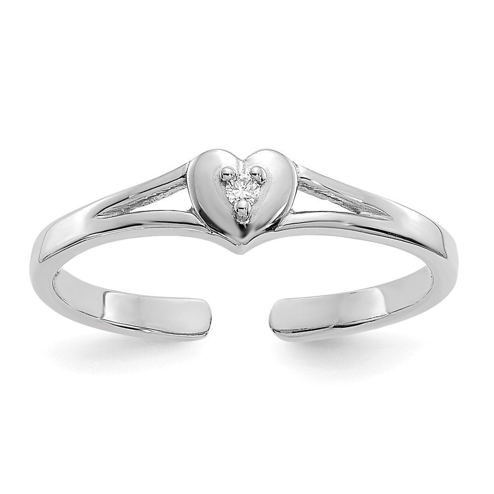14K White Gold .01Ct Diamond Heart Toe Ring | Ebay Inside Most Popular White Gold Diamond Toe Rings (Gallery 2 of 15)