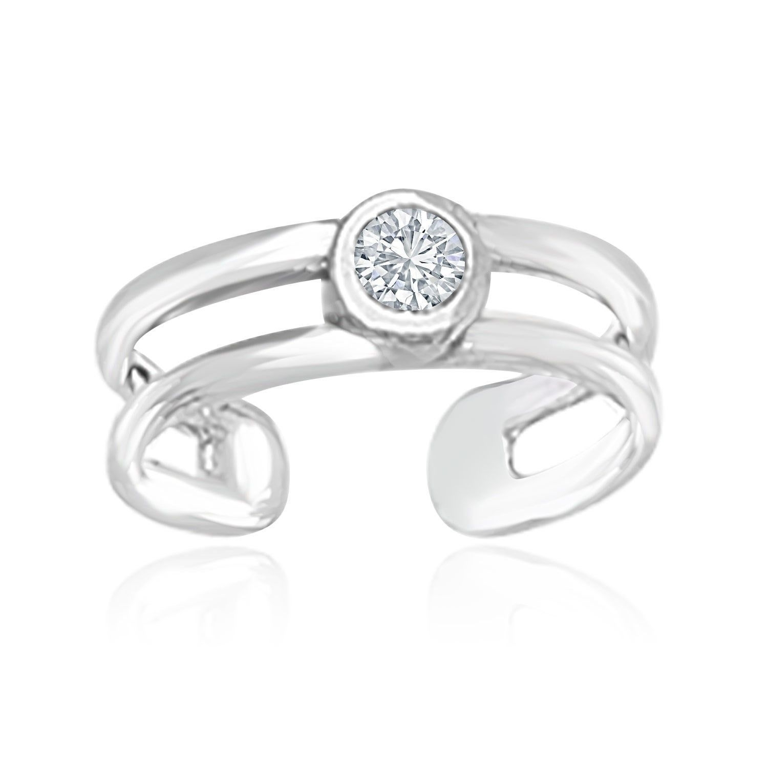 14K White Gold Cuff Type Cubic Zirconia Embellished Toe Ring Intended For Newest White Gold Diamond Toe Rings (View 4 of 15)