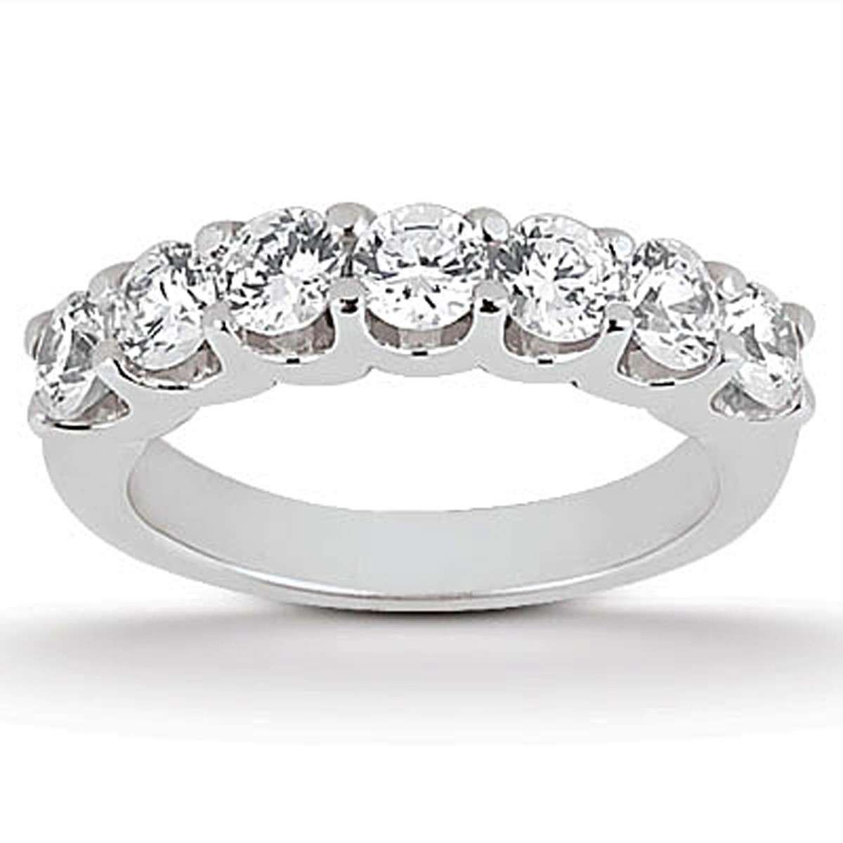 14k White Gold Diamond Scalloped Shared U Prong Setting Wedding With Current White Gold Toe Rings (View 7 of 15)