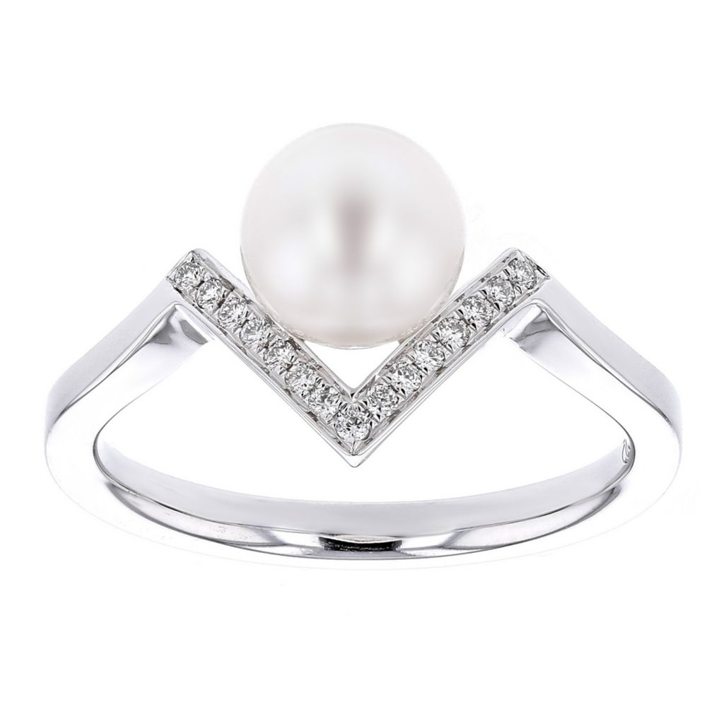 14K White Gold White Cultured Pearl & Diamond Chevron Ring | Borsheims Intended For Most Recently Released Diamond Chevron Rings (View 4 of 15)