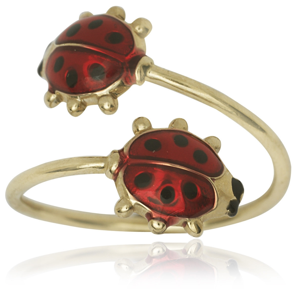 14K Yellow Gold Enamel Double Ladybug Adjustable Toe Ring | Ebay With Regard To Latest Ladybug Toe Rings (Gallery 4 of 15)