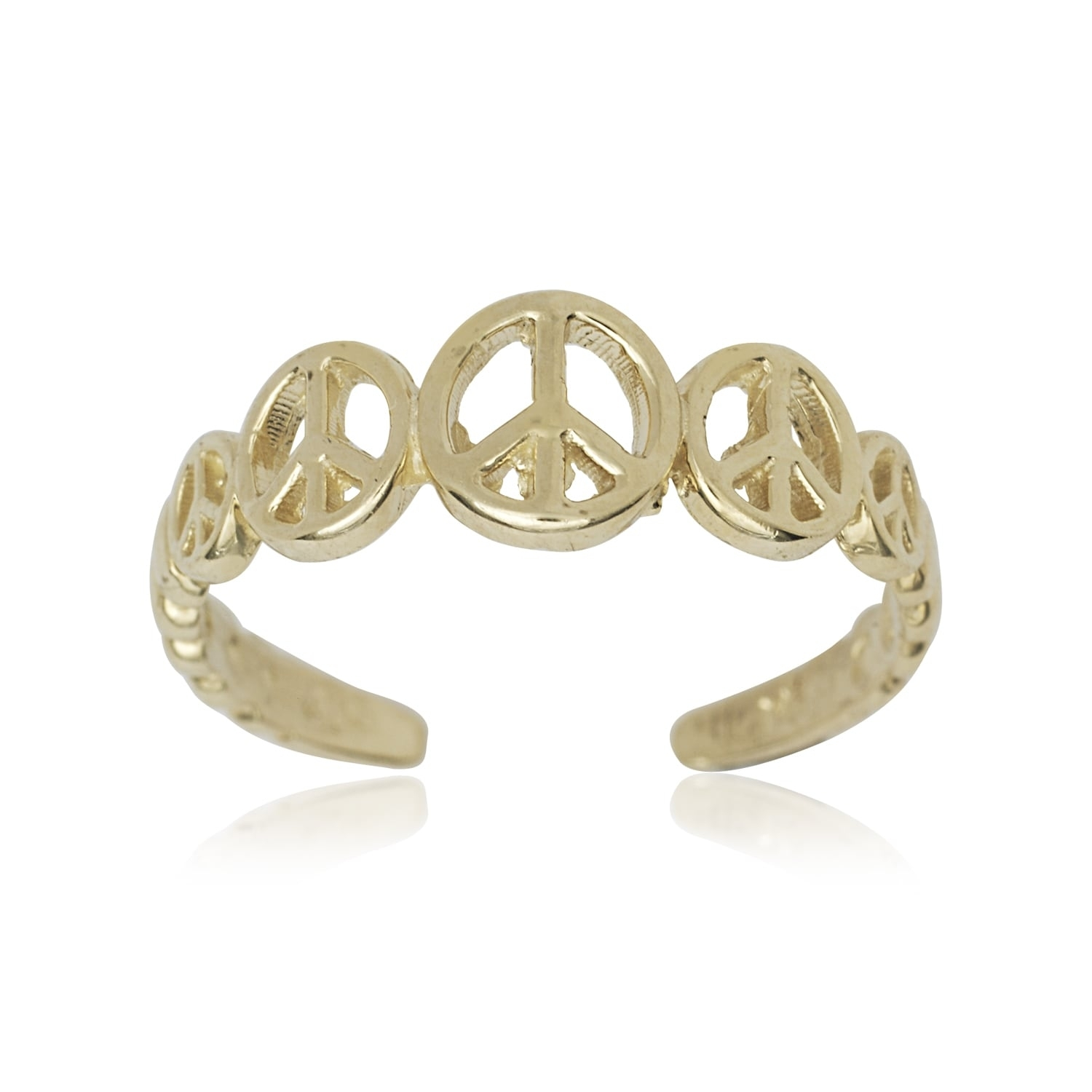 14K Yellow Gold Graduating Peace Sign Adjustable Toe Ring | Ebay With 2017 14K Gold Toe Rings (Gallery 23 of 25)