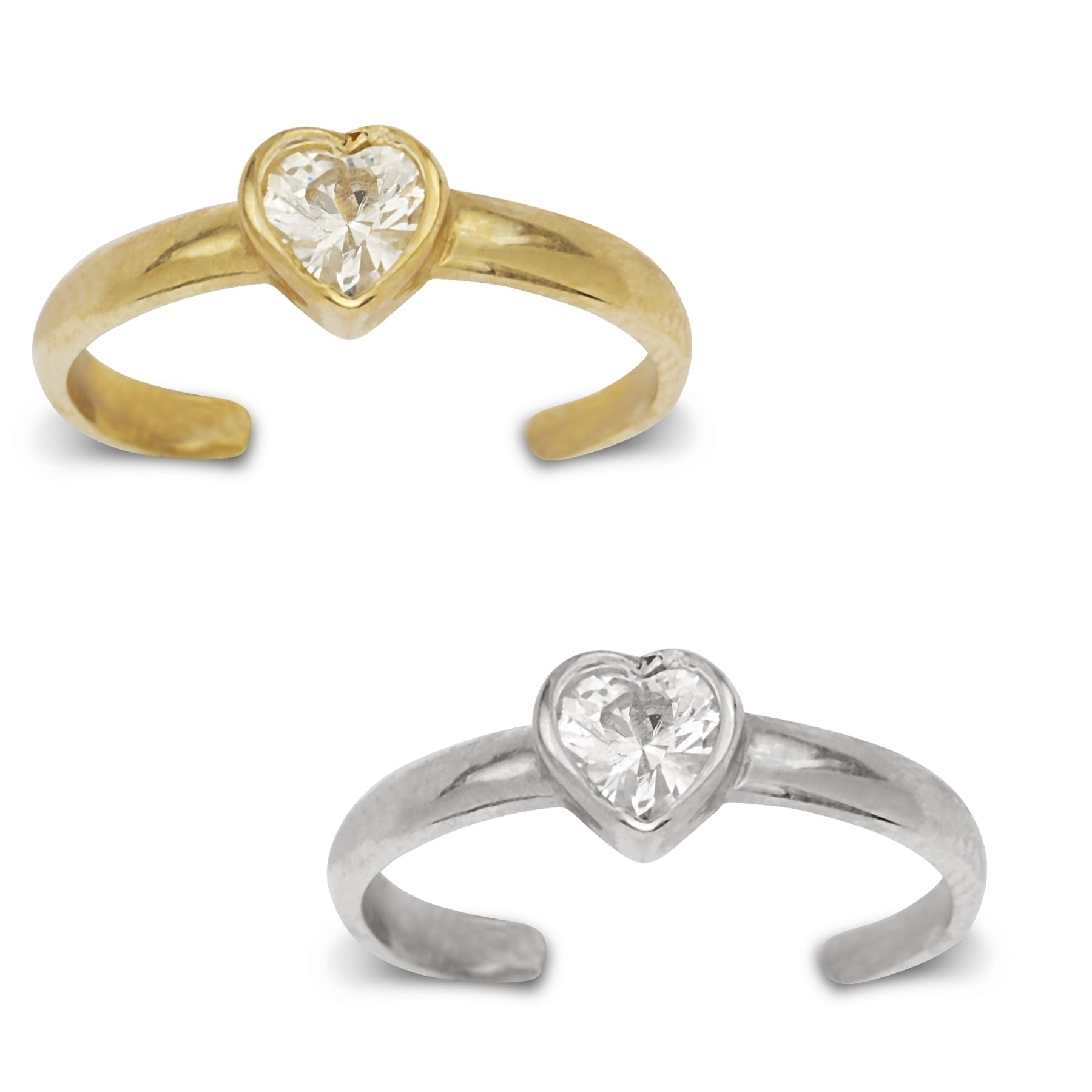 14K Yellow Or White Gold Adjustable Heart Shaped Cubic Zirconia For Latest White Gold Diamond Toe Rings (View 5 of 15)