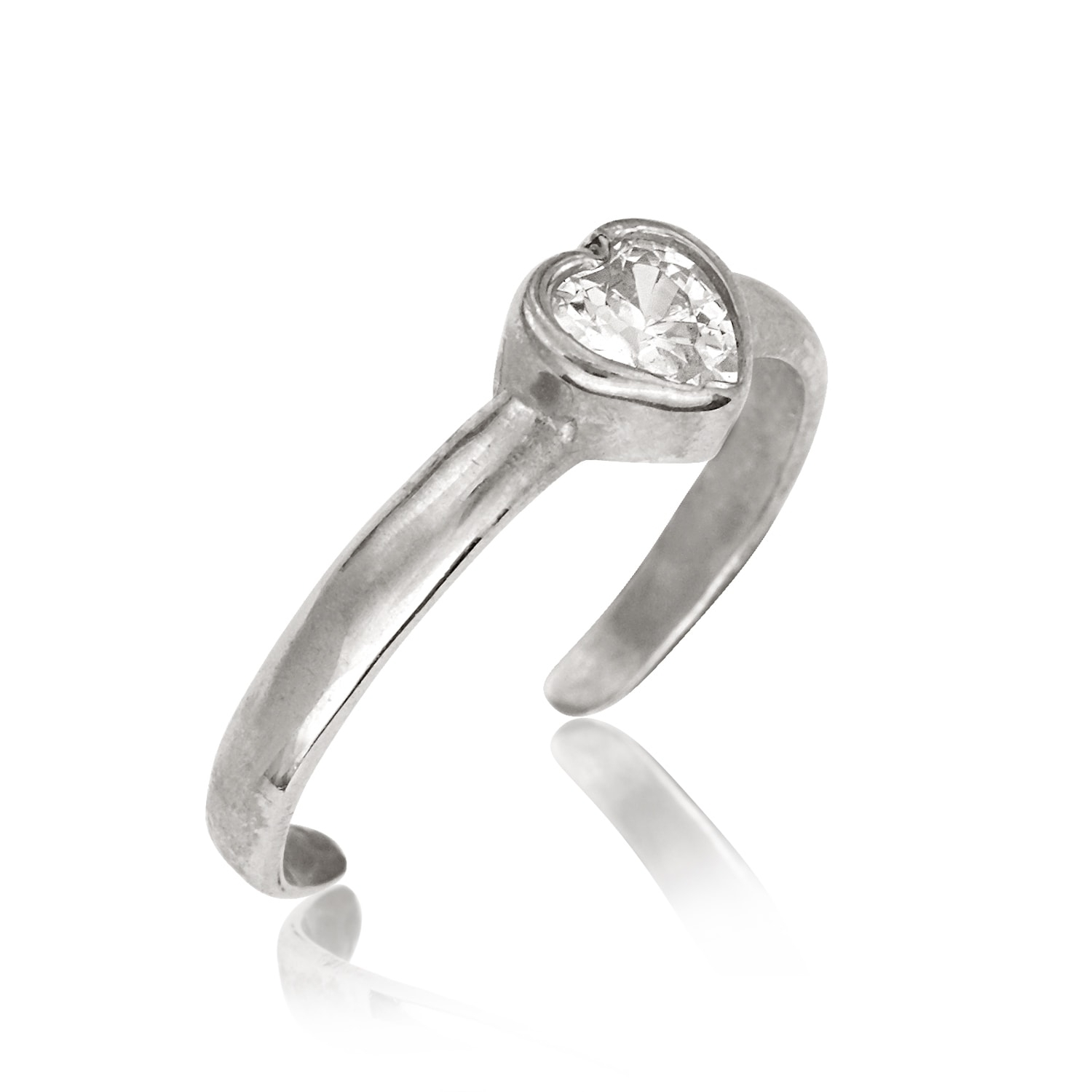 14K Yellow Or White Gold Adjustable Heart Shaped Cubic Zirconia Pertaining To 2018 Toe Rings With Cubic Zirconia (View 1 of 15)
