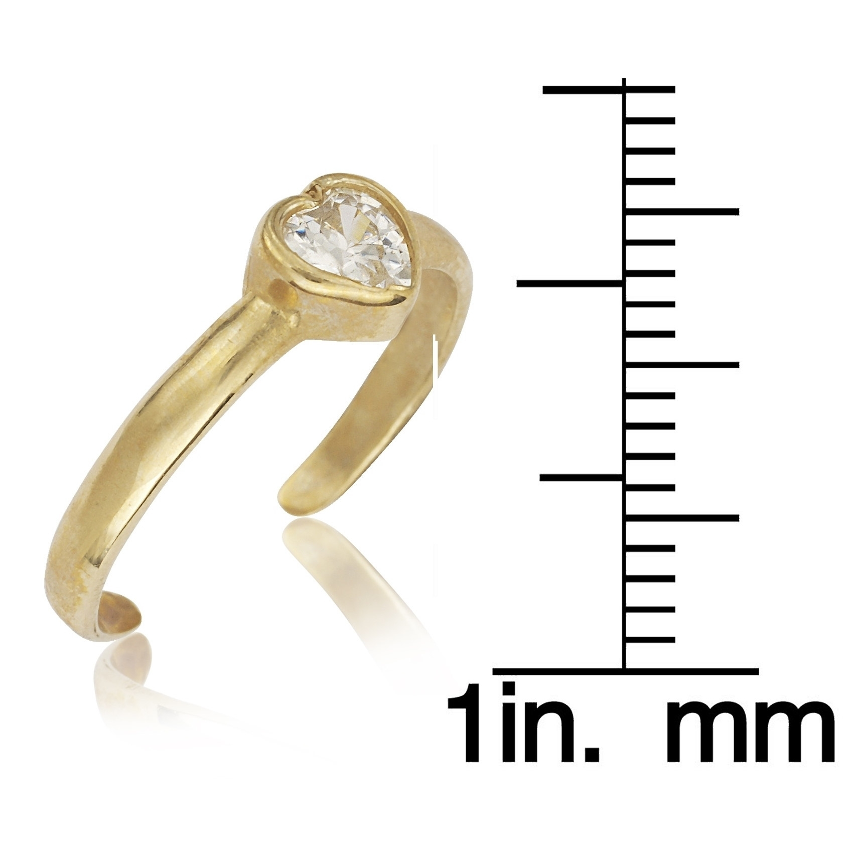 14K Yellow Or White Gold Adjustable Heart Shaped Cubic Zirconia Regarding 2017 White Gold Diamond Toe Rings (View 6 of 15)