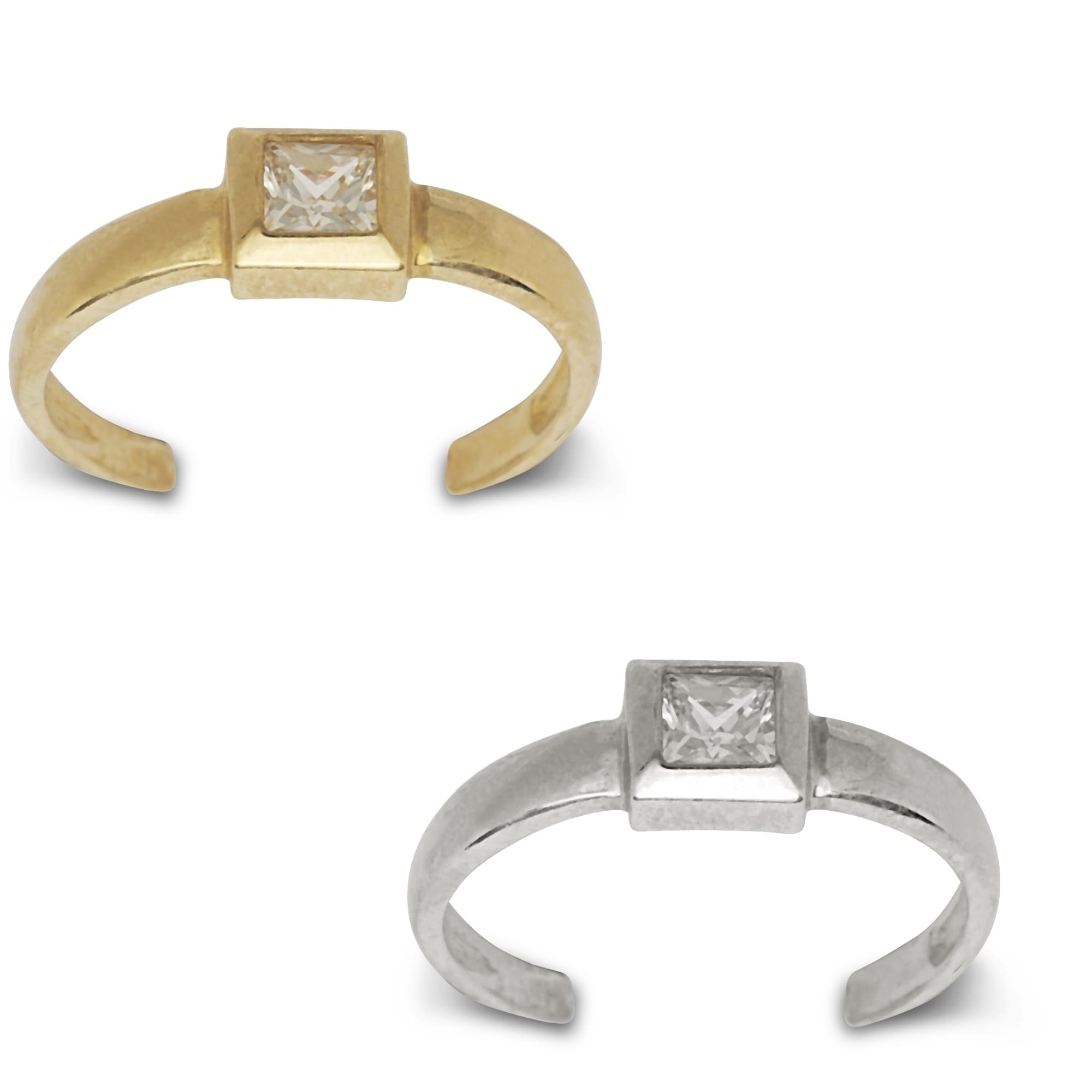 14K Yellow Or White Gold Adjustable Princess Cut Cubic Zirconia For Most Up To Date Toe Rings With Cubic Zirconia (View 3 of 15)