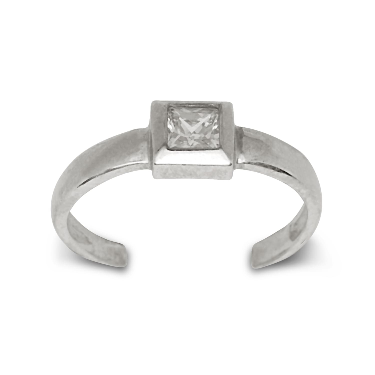 14K Yellow Or White Gold Adjustable Princess Cut Cubic Zirconia For Recent Toe Rings With Cubic Zirconia (View 4 of 15)