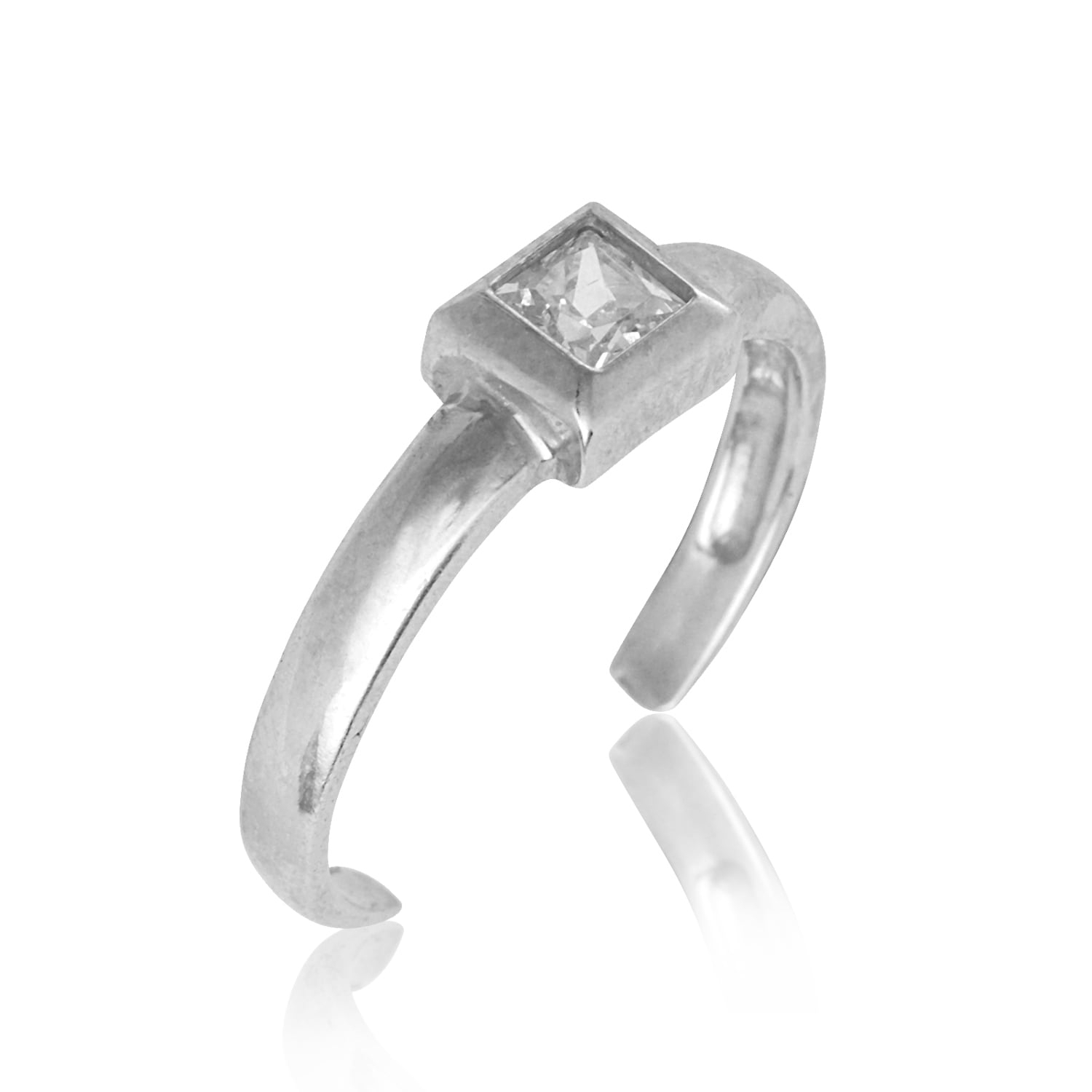14K Yellow Or White Gold Adjustable Princess Cut Cubic Zirconia Regarding 2017 Toe Rings With Cubic Zirconia (View 5 of 15)