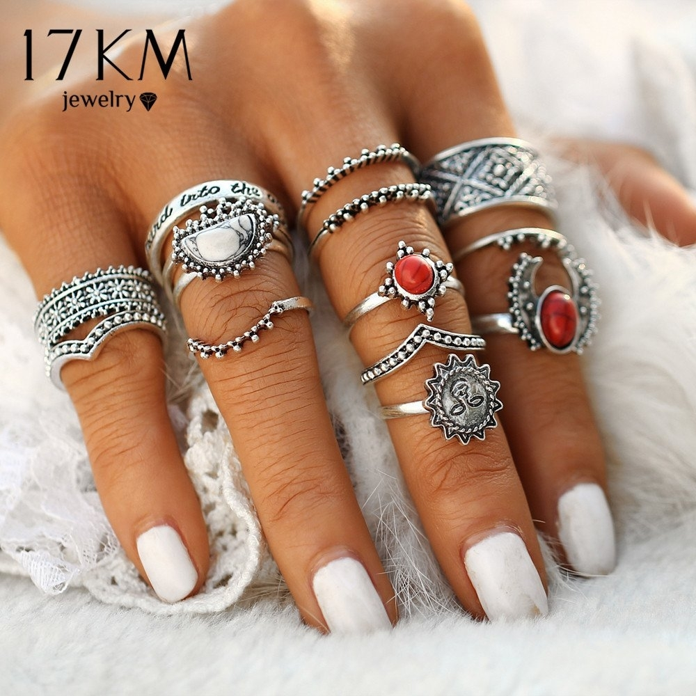 14Pcs/set Vintage Silver Color Moon And Sun Midi Female Ring Sets With Regard To Current Chevron Knuckle Rings Sets (Gallery 11 of 15)