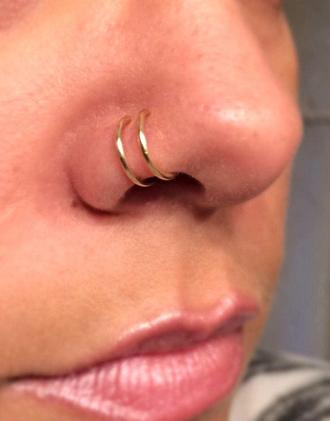18 Gauge Gold Double Nose Ring Lip Ring From Junylie With Regard To Most Recent Chevron Nose Rings (View 8 of 15)