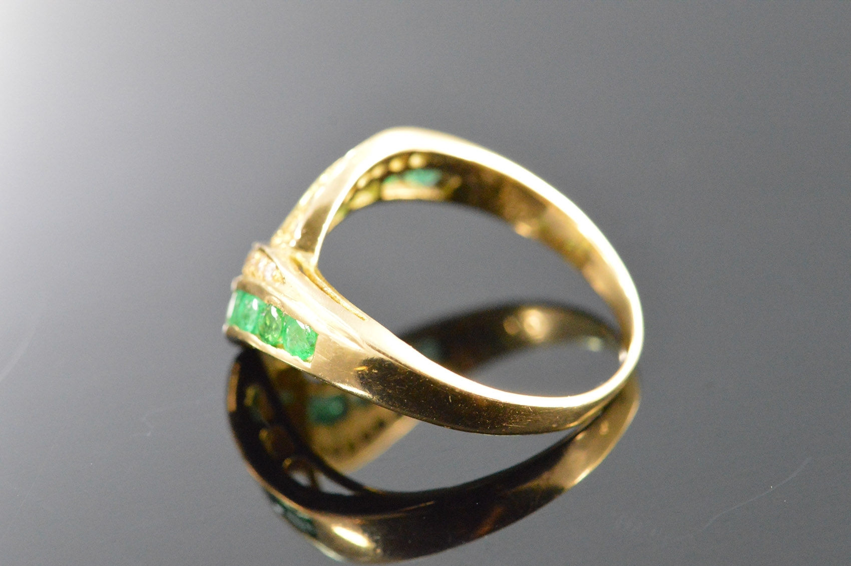 18K 3G 0.31 Ctw Diamond Emerald Chevron Yellow Gold Ring, Size 6 Intended For Most Recent Chevron Emerald Rings (Gallery 11 of 15)