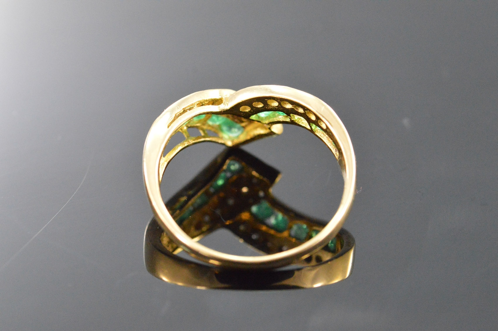 18K 3G 0.31 Ctw Diamond Emerald Chevron Yellow Gold Ring, Size 6 Intended For Most Recent Chevron Emerald Rings (Gallery 10 of 15)