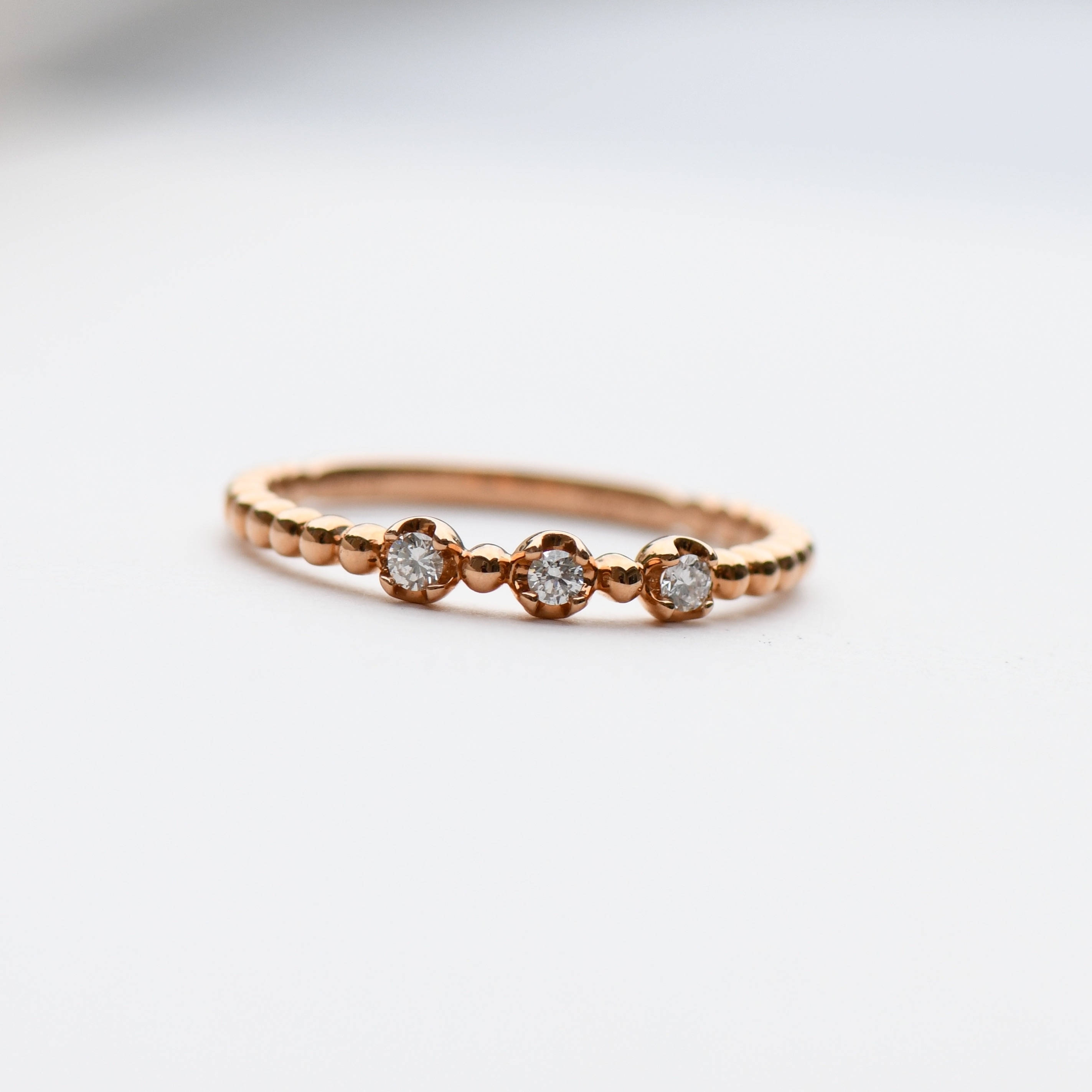 18K Rose Gold Ring Three Stone Ring Diamond Ring Stacking With 2018 Three Stackable Chevron Diamond Rings (View 2 of 15)