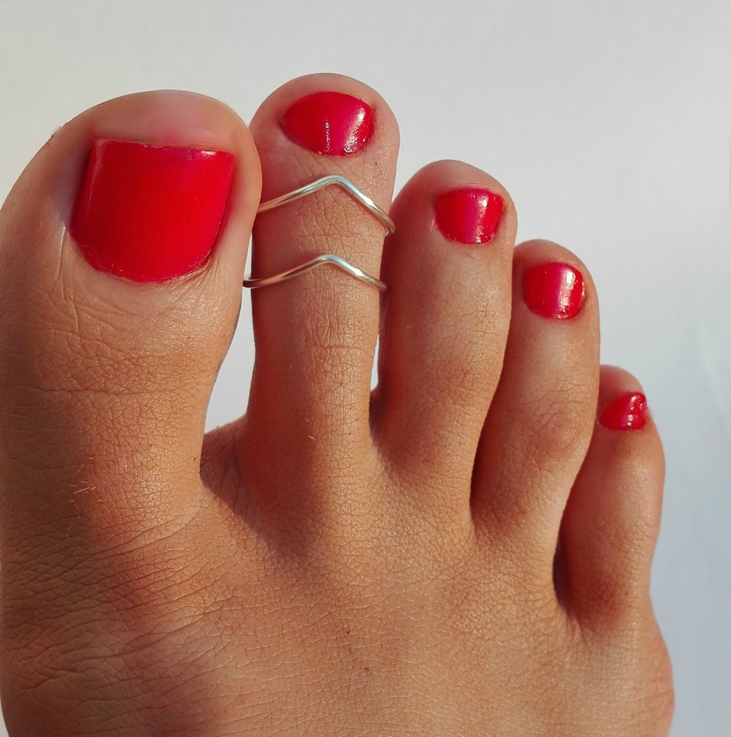 2 Silver Plated Toe Rings/ Chevron Toe Ring/foot Jewelry/set Of 2 Regarding Latest Chevron Midi Rings Sets (Gallery 12 of 15)