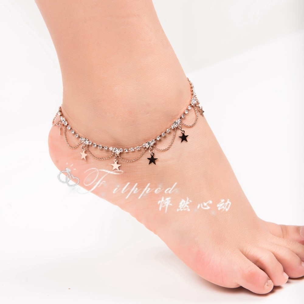 2015 New Sexy Foot Jewelry Anklet For Woman Rose Gold Ankle Within Recent Ankle Bracelet Toe Rings (View 1 of 25)