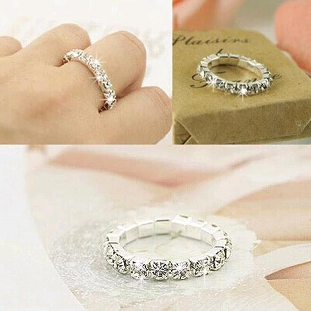 2018 Big Promotions !rhinestone White Fashion Finger Rings Silver Inside Best And Newest Elastic Toe Rings (Gallery 12 of 15)