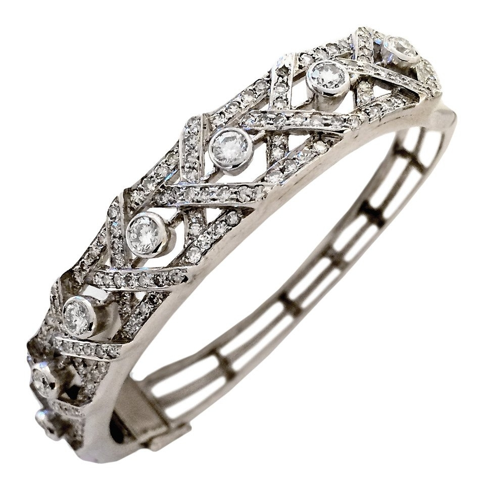 3 Carats Diamond Openwork Gold Bangle Bracelet At 1Stdibs In Latest White Gold Toe Rings (Gallery 11 of 15)