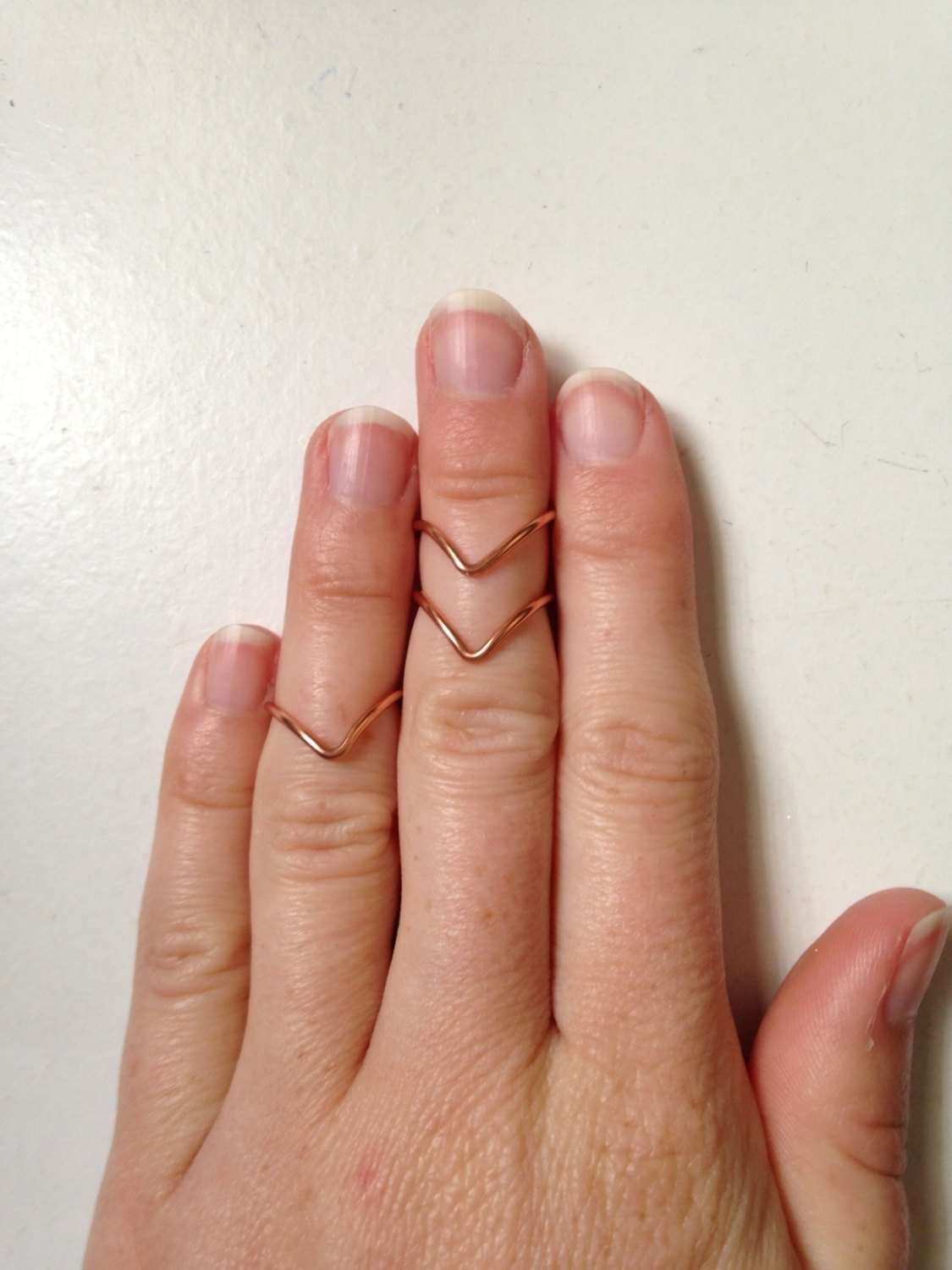 3 Stackable Chevron Mid Finger Rings In Rose Gold Rings Regarding Recent Chevron Finger Rings (Gallery 15 of 15)