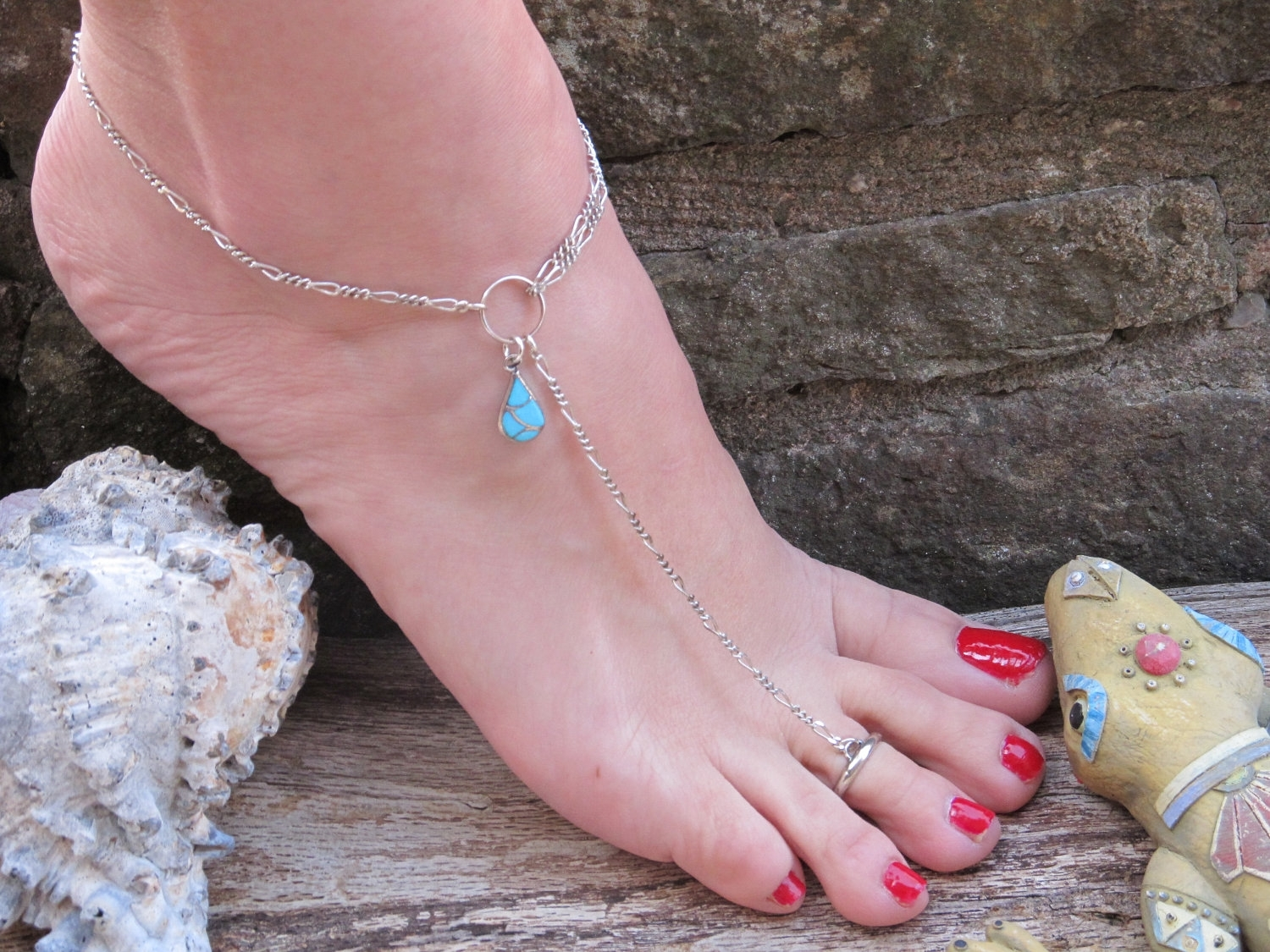 44 Toe Ankle Bracelet, Toe And Ankle Bracelet In One Gems Of Regarding Most Up To Date Ankle Bracelet Toe Rings (View 4 of 25)