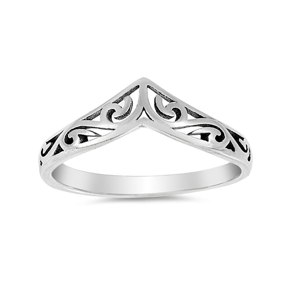 4Mm Thumn Ring Band Chevron Midi Filigree 925 Sterling Silver Intended For Current Chevron Thumb Rings (View 15 of 15)