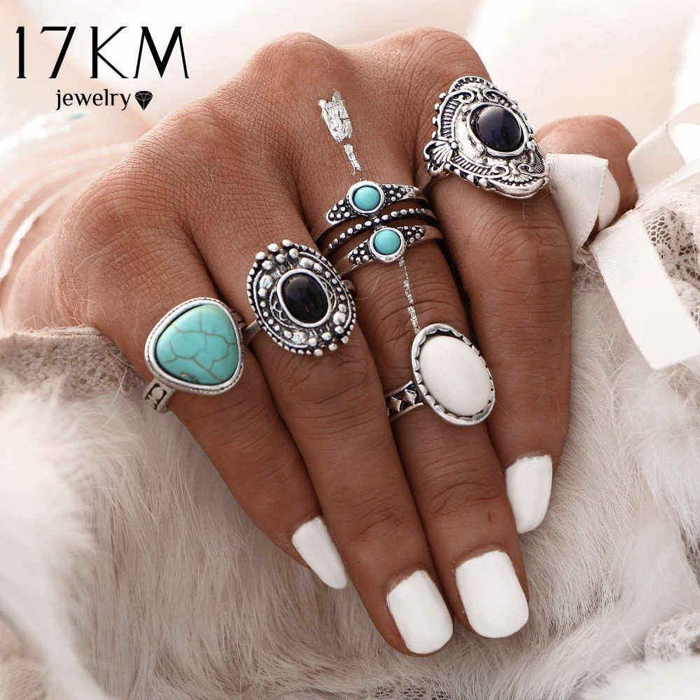 5 Pcs/set Antique Gold /silver Bohemian Midi Ring Set Vintage Pertaining To 2018 Chevron Knuckle Rings Sets (View 3 of 15)