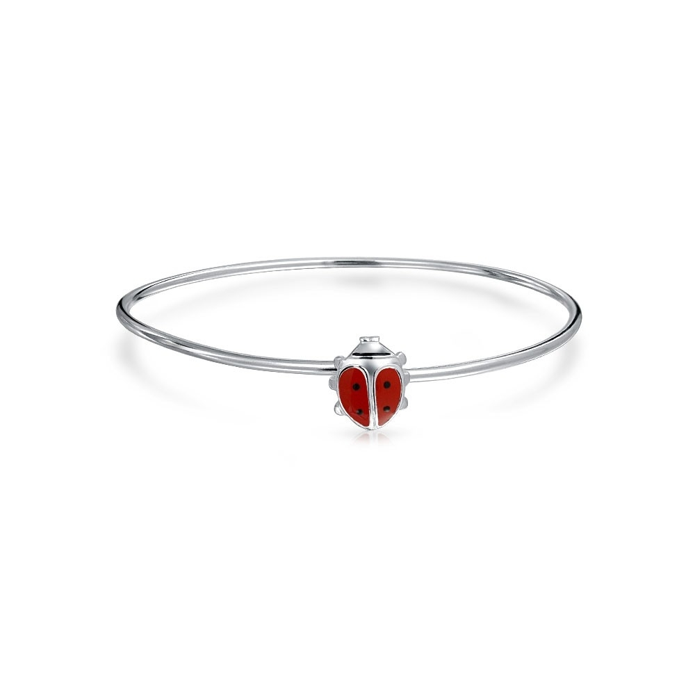 925 Silver Red Enamel Lucky Ladybug Baby Bangle Bracelet 5In With Most Recently Released Ladybug Toe Rings (View 5 of 15)