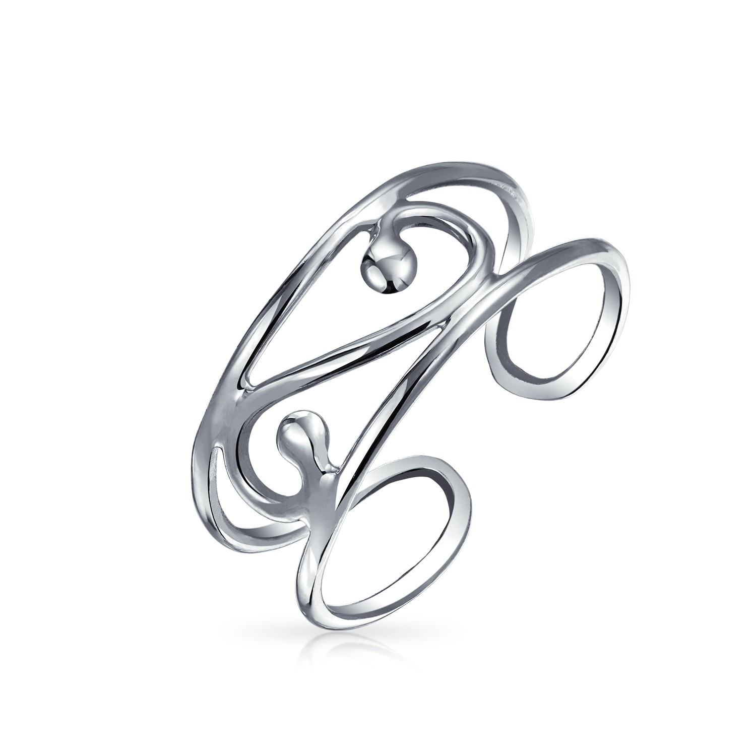 925 Silver Scroll Wide Midi Ring Adjustable Wire Swirl Toe Rings Inside Most Recent Non Adjustable Sterling Silver Toe Rings (View 4 of 15)