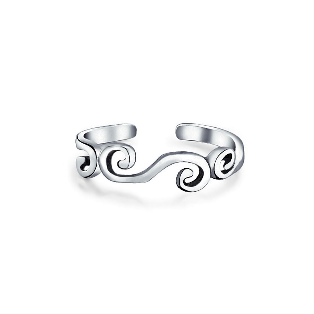 925 Silver Scroll Wide Midi Ring Adjustable Wire Swirl Toe Rings Intended For Current Non Adjustable Toe Rings (Gallery 3 of 15)