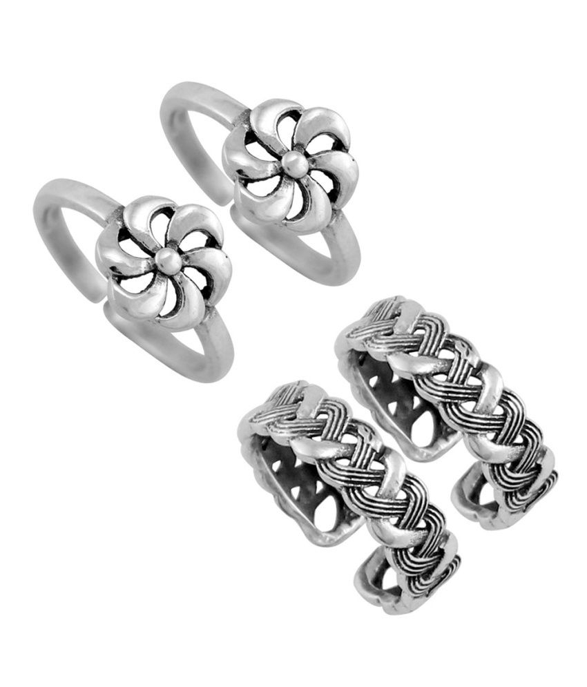 925 Silver Traditional Silver Toering Combo Set (Set Of 2): Buy Pertaining To Most Recently Released Traditional Toe Rings (Gallery 4 of 15)