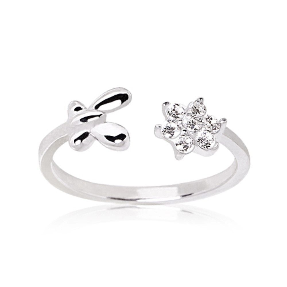 925 Sterling Silver Flower & Butterfly Toe Ring | Toe Rings In Current Butterfly Toe Rings (View 5 of 15)