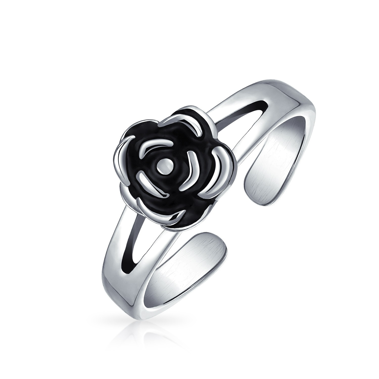 925 Sterling Silver Flower Midi Ring Adjustable Rose Toe Rings In Most Popular Adjustable Toe Rings (View 24 of 25)