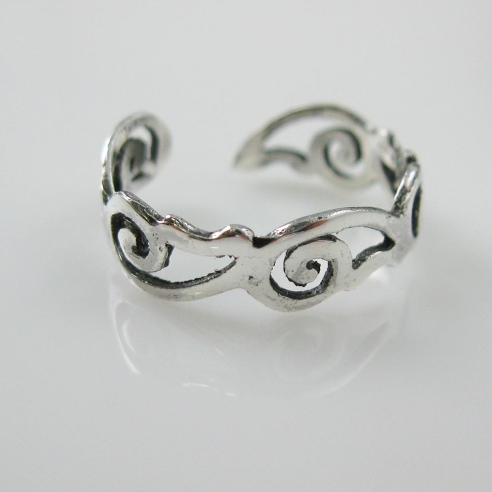 925 Sterling Silver Toe Ring Simple Paisley Ring Adjustable With Regard To Most Up To Date Sterling Silver Toe Rings (View 3 of 15)