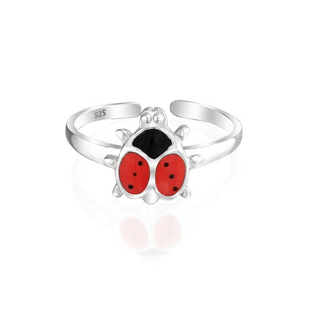925 Sterling Silver Toe Rings Animal Red Ladybug Midi Ring Throughout Recent Ladybug Toe Rings (View 6 of 15)
