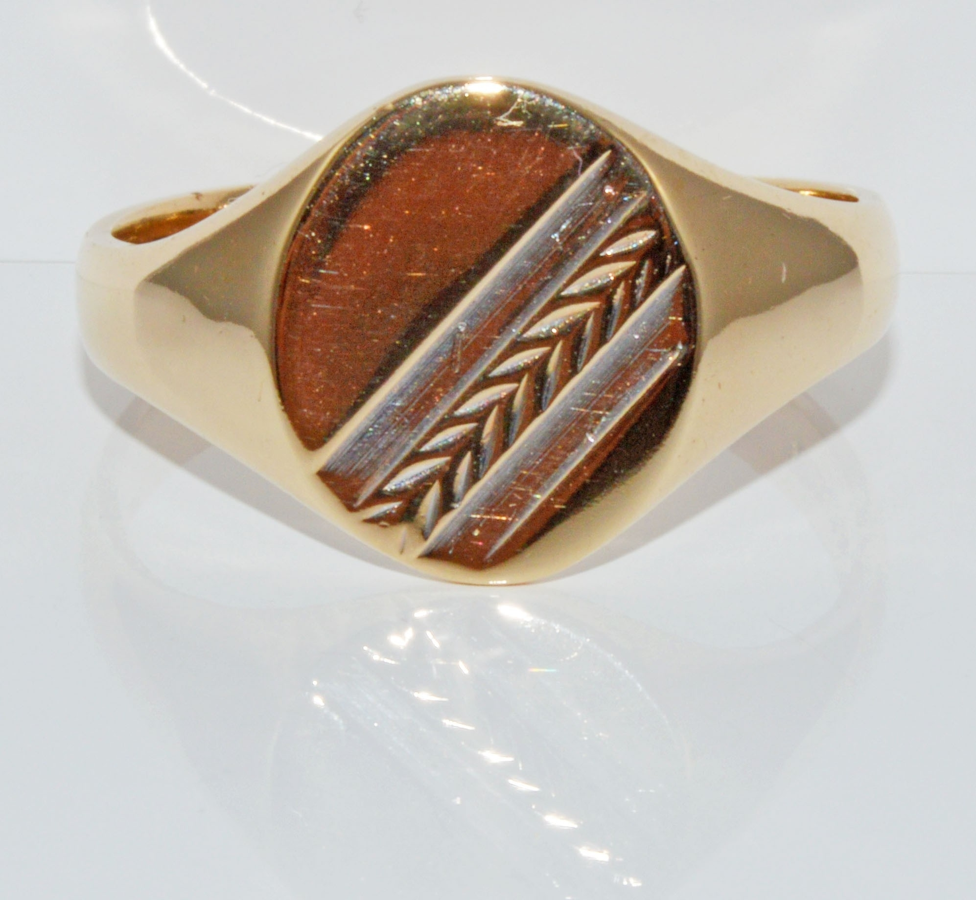 9Ct Chevron Pattern Signet Ring – Broadway The Jewellers Pertaining To Most Current Chevron Signet Rings (Gallery 5 of 15)