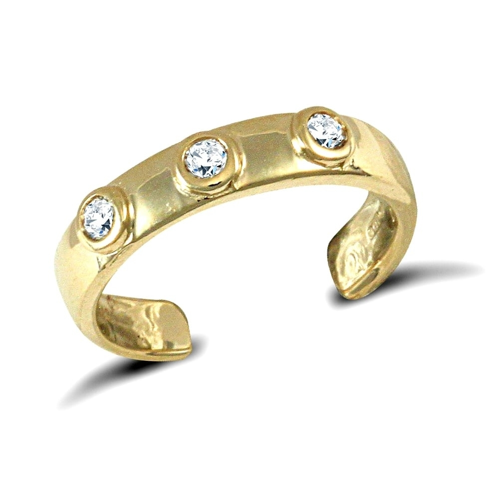 9Ct Yellow Gold White Round Brilliant Cubic Zirconia Trilogy Band Throughout Latest Toe Rings With Cubic Zirconia (View 8 of 15)