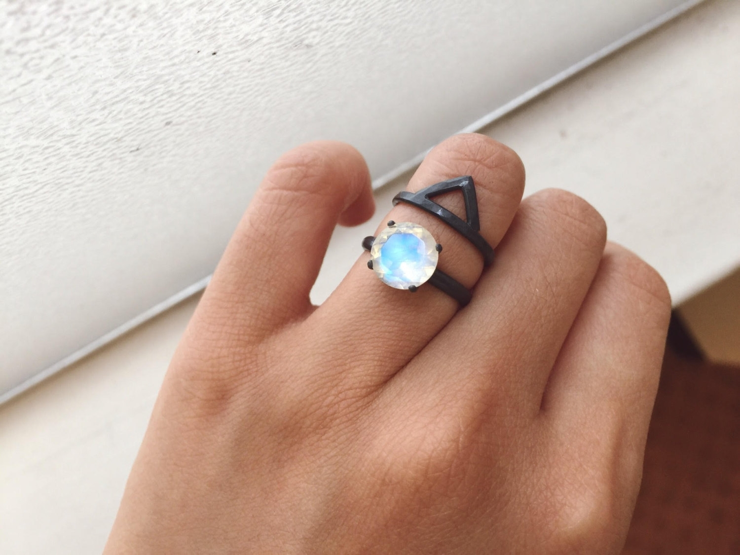 9mm Rainbow Moonstone Ring And Chevron Ring Set – Handmade Jewelry With Regard To Most Recent Chevron Rings (View 8 of 15)