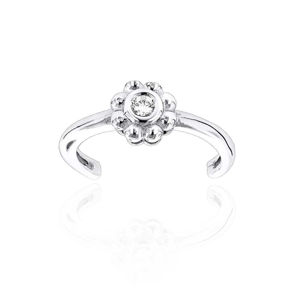 Adjustable 14K Gold Diamond Toe Ring Flower  (View 7 of 25)