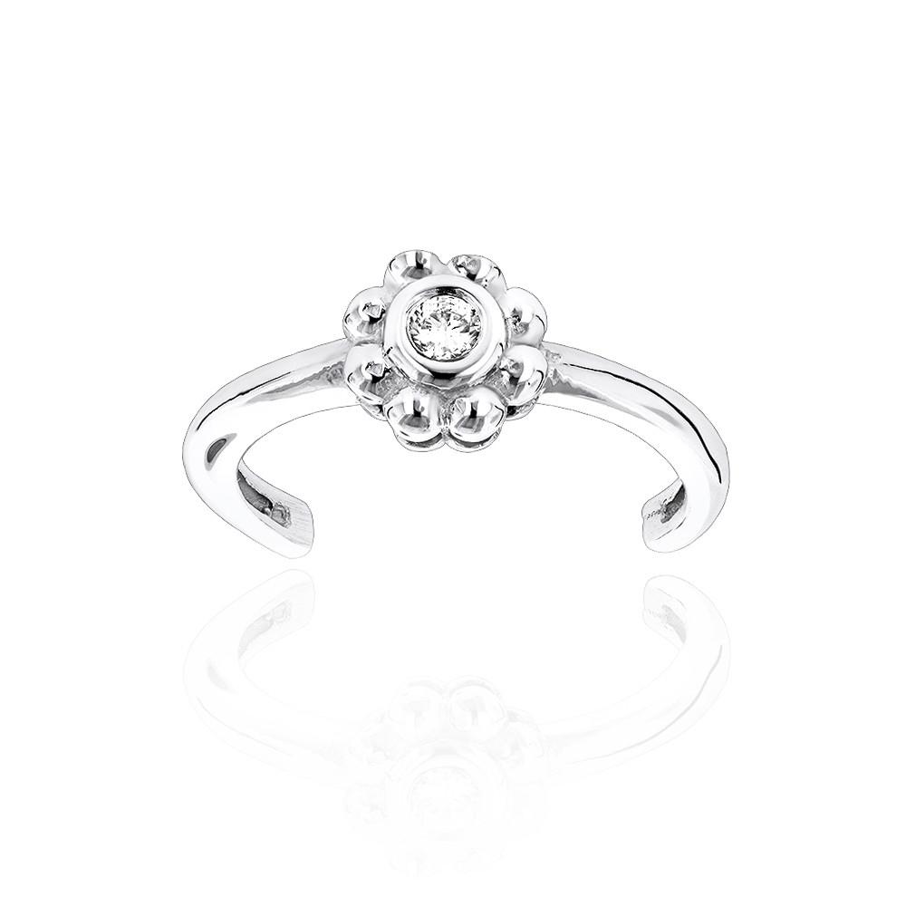 Adjustable 14K Gold Diamond Toe Ring Flower 0.06Ct Regarding 2018 14K Toe Rings (Gallery 20 of 25)