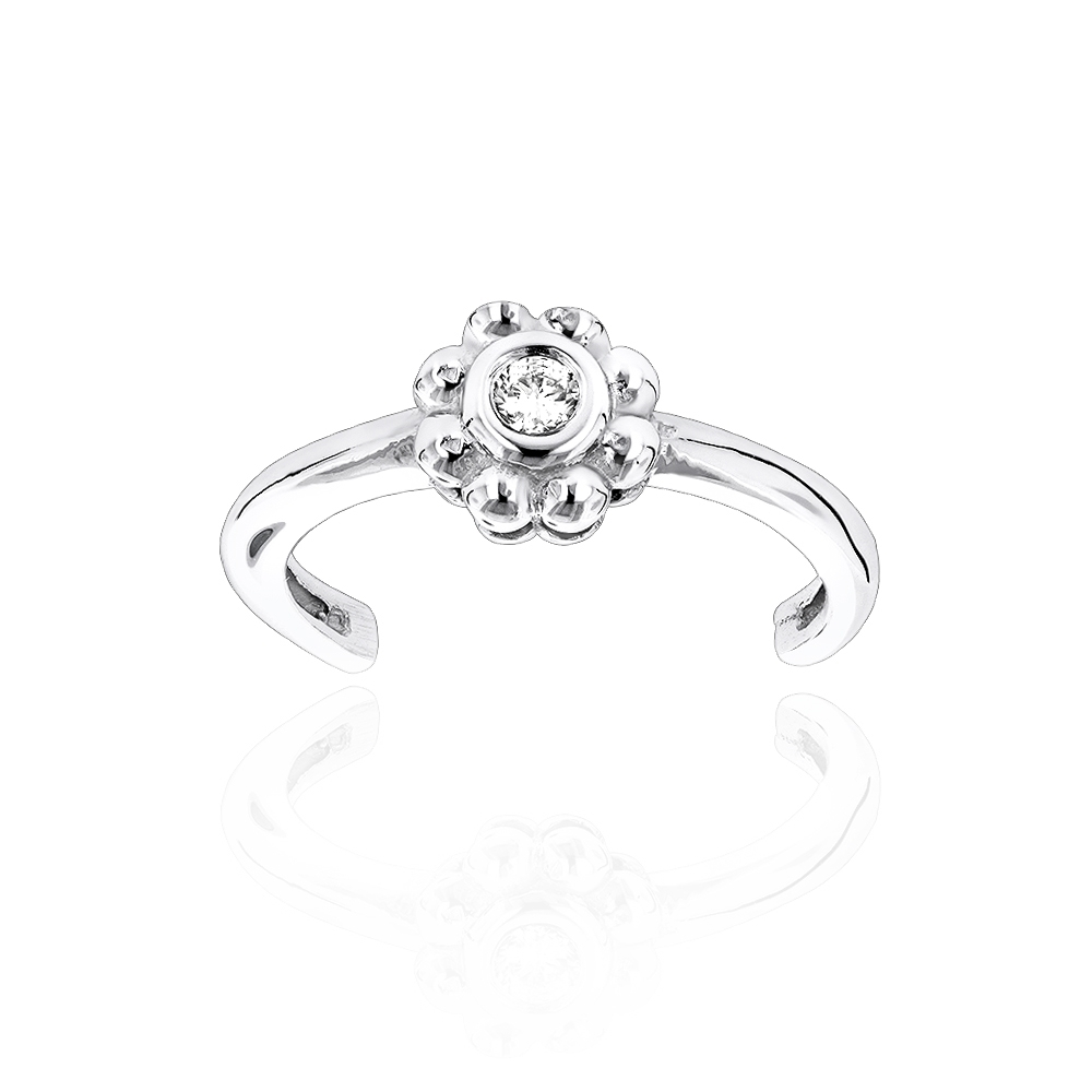 Adjustable 14K Gold Diamond Toe Ring Flower  (View 5 of 15)