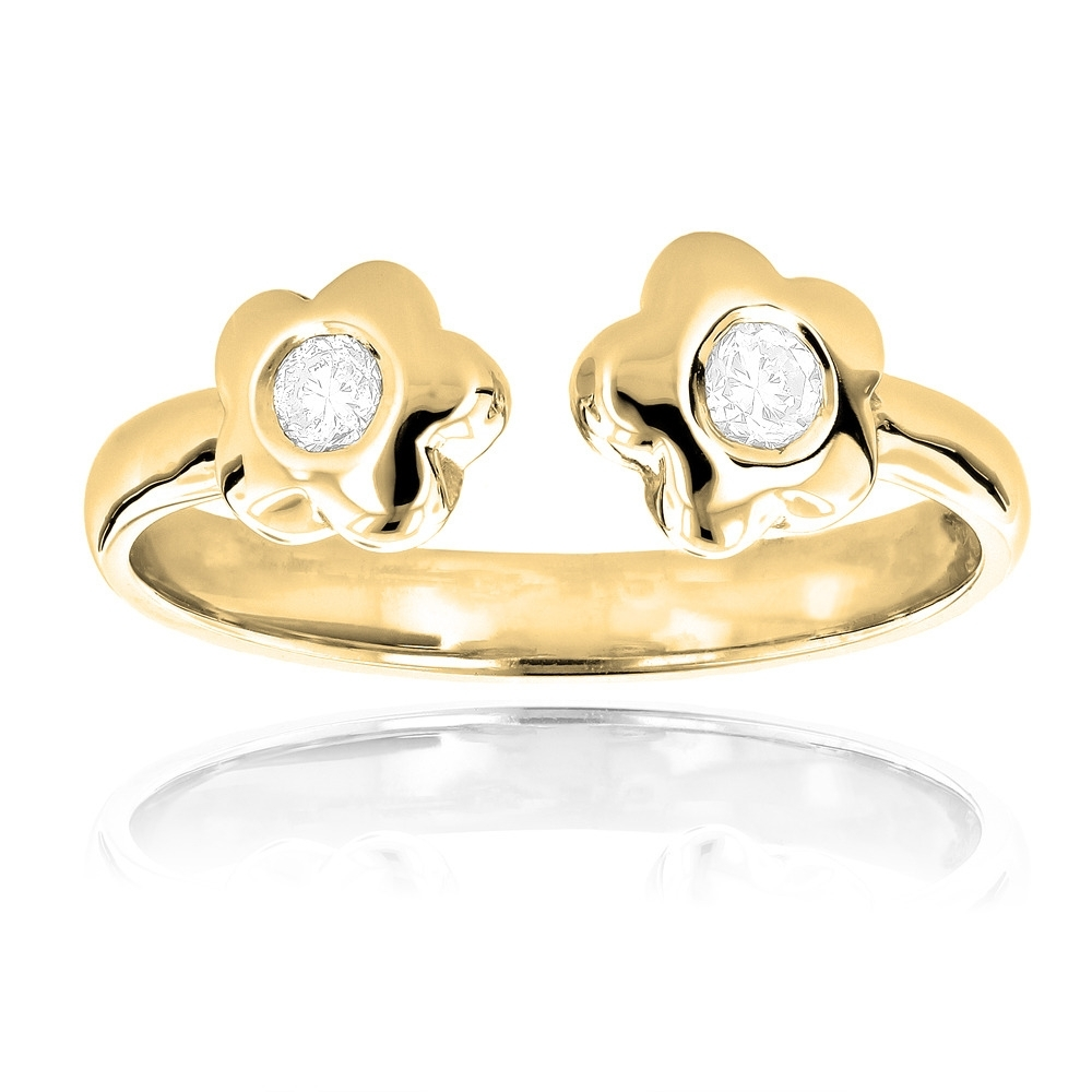 Adjustable 14K Gold Diamond Toe Ring Flower  (View 7 of 15)