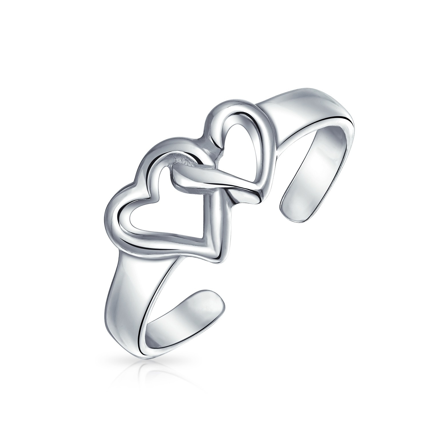 Adjustable Double Open Heart Midi Ring Sterling Silver Toe Rings Intended For Most Up To Date Platinum Toe Rings (View 13 of 15)