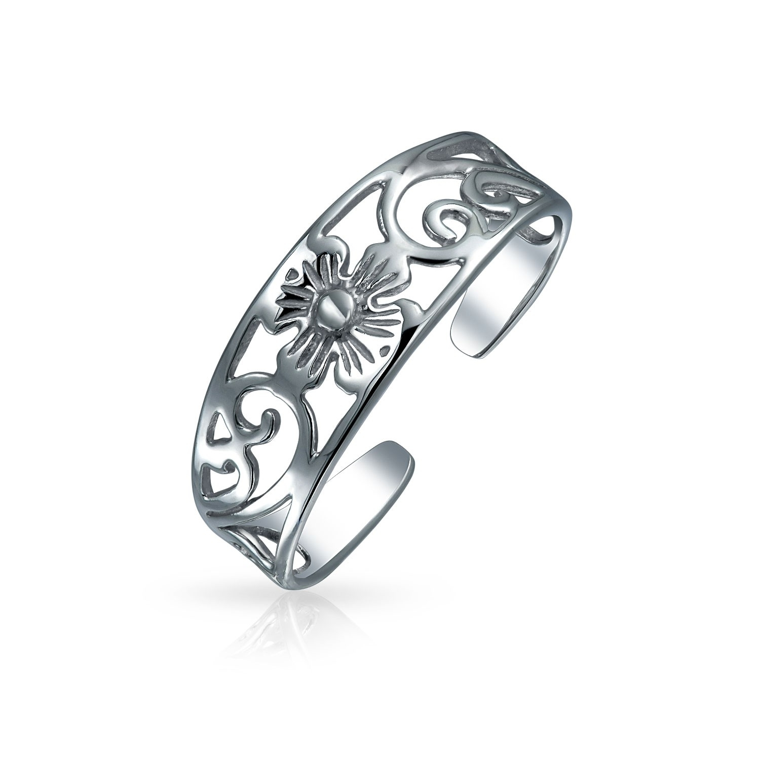 Adjustable Filigree Flower Toe Ring 925 Sterling Silver Midi Rings Regarding Newest Platinum Toe Rings (View 2 of 15)