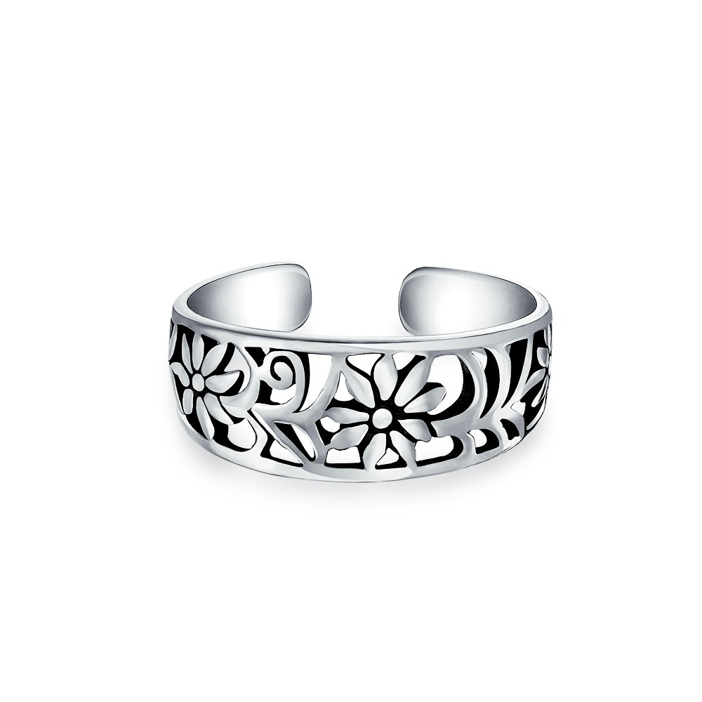 Adjustable Mid Finger Ring Cutout Flower Sterling Silver Toe Rings With Regard To Most Popular Feather Toe Rings (View 7 of 15)