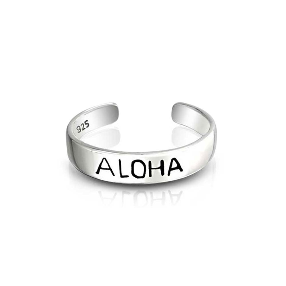 Adjustable Mid Knuckle Ring Sterling Silver Hawaii Aloha Toe Rings Regarding Newest Adjustable Toe Rings (View 9 of 25)