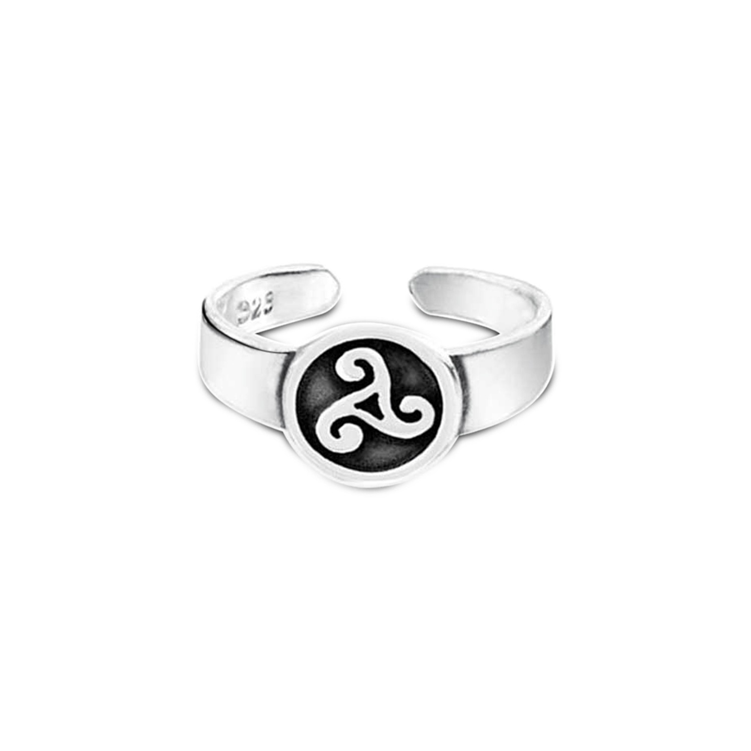 Adjustable Sterling Silver Celtic Toe Ring Triskele Midi Rings In Most Recent Celtic Toe Rings (View 1 of 15)