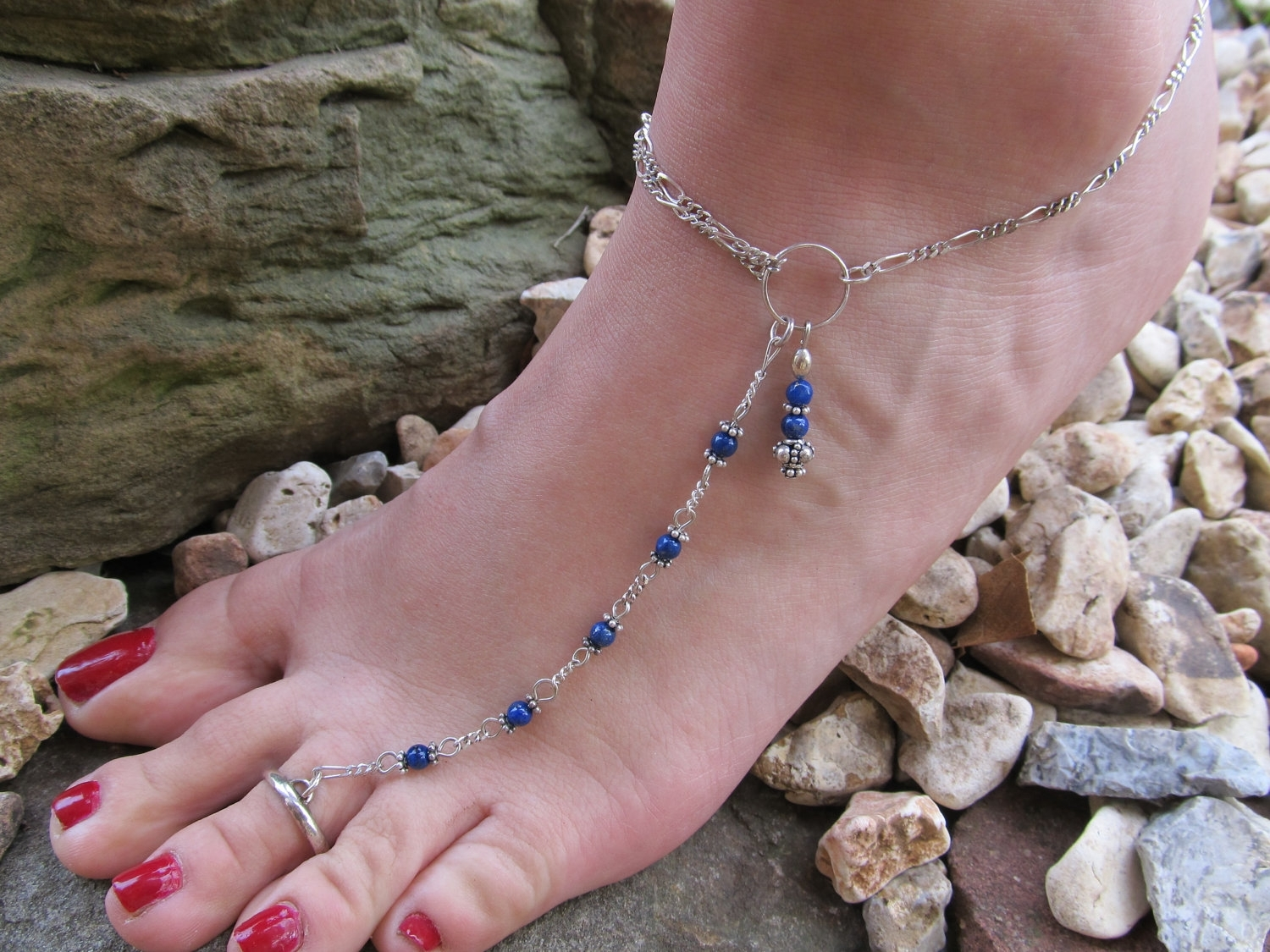 Anklet Deep Blue Lapis Sterling Silver Ankle Bracelet Toe Ring With Newest Wedding Toe Rings (View 5 of 15)