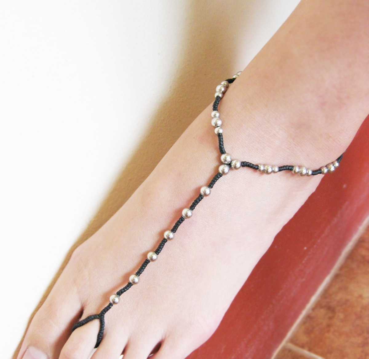 Anklet Toe Ring Barefoot Sandals Footwear Silver Bead Black Wax Pertaining To Most Popular Anklets With Toe Rings (View 11 of 16)