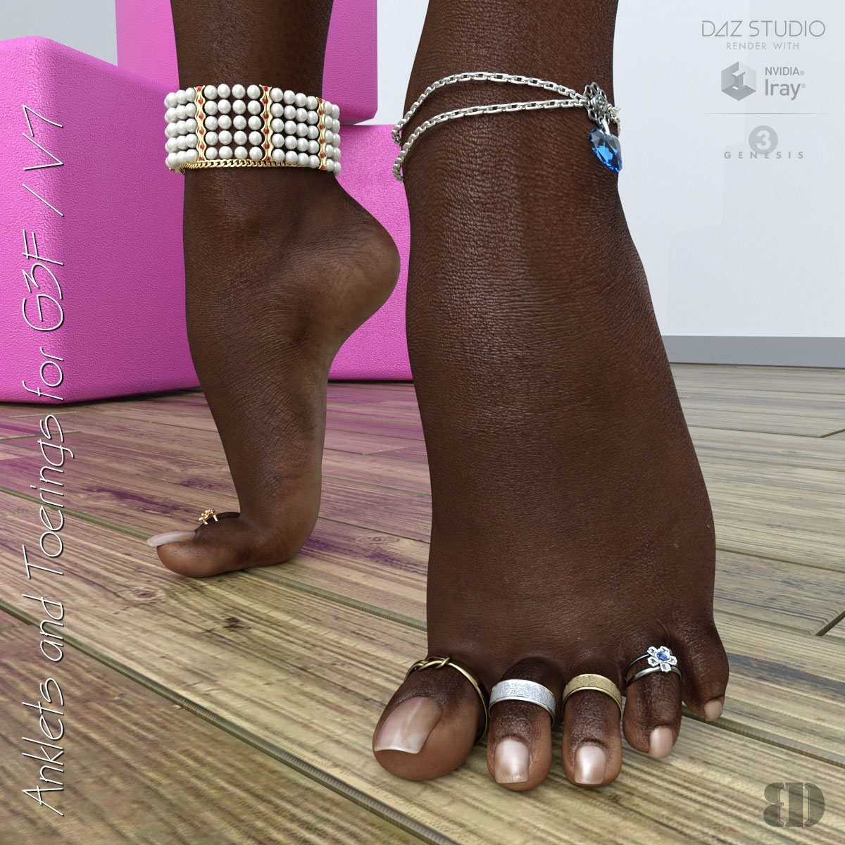 Anklets And Toerings For G3F/v7 3D Figure Assets Bigdreams Regarding Newest Anklets With Toe Rings (View 16 of 16)